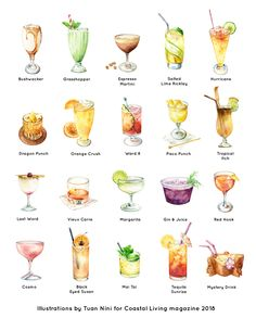 Cocktail by Tuan Nini- Watercolor illustrations of cocktails commissioned by Time Inc's Coastal Living magazine 2018