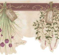 interior place tan 418b339 herbs scalloped wallpaper border 1399 http - Kitchen Wallpaper Borders Ideas