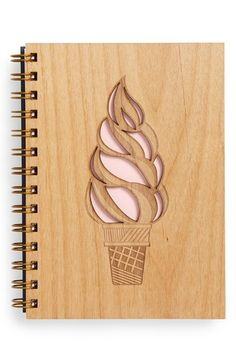 Cardtorial 'Ice Cream Cone' Wood Cover Journal available at Diy Notebook, Notebook Covers, Laser Cut Wood, Laser Cutting, Wooden Projects, Wood Crafts, 3d Laser Printer, Wreck This Journal, Wood Creations