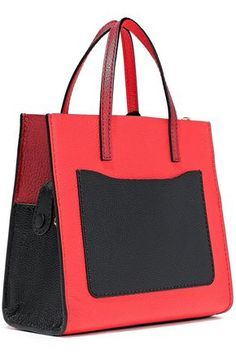 MARC JACOBS MARC JACOBS WOMAN GRIND MINI COLOR-BLOCK PEBBLED-LEATHER TOTE RED. #marcjacobs #bags #shoulder bags #hand bags #leather #tote Shoulder Strap, Shoulder Bags, Marc Jacobs Bag, Hand Bags, Pebbled Leather, Luxury Branding, Gym Bag, Zip, Wallet