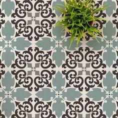 Casa Verde Tile Stencil - Cement Tile Stencils for Painting DIY Faux Tiles - Reusable Tile Stencils for Savvy Home Makeover Painting Tile Floors, Painted Floors, Stencil Painting, Tile Stencils, Stenciling, Stencil Patterns, Floor Patterns, Stencil Designs, Tile Patterns