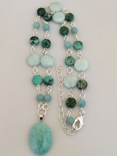 Turquoise Amazonite Pendant Necklace on Beaded Strand by Rock2Gems