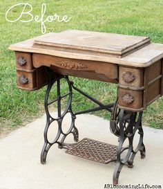 DIY Old Sewing Machine Redo to Nightstand!