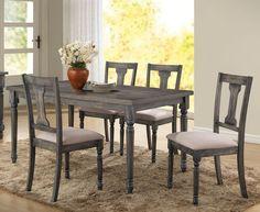 Acme 71435 Wallace 5pcs Weathered blue washed wood Dining Table Set