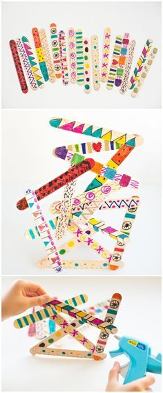 Popsicle Stick Art Sculptures. Easy art project for kids with some building, engineering, and fine motor skills involved.