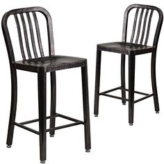 Flash Furniture 2 Pk. 24'' High Black-Antique Gold Metal Indoor-Outdoor Counter Height Stool with Vertical Slat Back