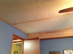 burlap ceiling in basement | To complete my basement bedroom ceiling I purchased burlap and stapled ...