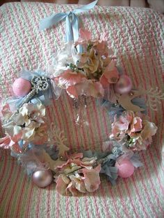 blue pink shabby cottage wreath by stephanies cottage! Shabby Chic Christmas, Pink Christmas, Christmas Colors, Vintage Christmas, Christmas Wreaths, Christmas Decorations, Christmas Ornaments, Christmas Time, Xmas