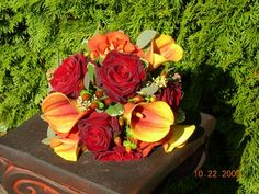 Red and Orange Wedding Bouquets | Red Rose and Orange Calla Lily Wedding Bouquet