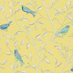 Yellow / Blue / Cream - DOPWFI101 - Finches - Options 10 - Sanderson Wallpaper