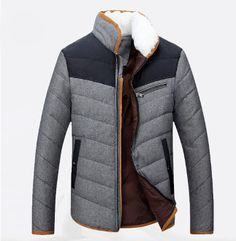 Mens Zipper Coat with Fur Collar
