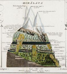 "illustration allemande : H. Berghaus, 1851, ""Himalaya"", dans Physikalischer Atlas, documentaire, montagne, 1850s"