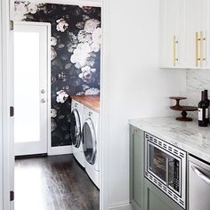 Ordering floral wallpaper and a butch block counter top for my laundry room. So excited to give this room some love, I spend half of my life in there.  Photo credit Pinterest. Love me some good inspiration  #utahdesigner #interiordesign #laundryroom #floralwallpaper #butcherblock #inspiration