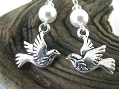 Silver Dove of Peace Olive Branch Light Green Swarovski Crystal Dangly Earring - pinned by pin4etsy.com