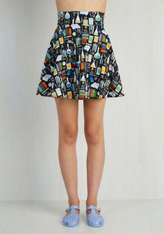 Playful Feeling Skirt in Chemistry - Red, Orange, Yellow, Green, Blue, Black, White, Novelty Print, Casual, Quirky, Nifty Nerd, Full, Fall, Woven, High Rise, Short, Black, Multi