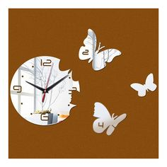 Creative Living Room Butterfly Wall Clock Acrylic Mirror silver