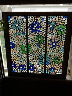Watercolor stained glass mosaic by Lightofmineglass on Etsy, $135.00