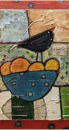Cubist Paintings, Easy Paintings, Decoupage On Canvas, Easy Painting Projects, Crow Painting, Tea Bag Art, Still Life Art, Amazing Art, Folk Art