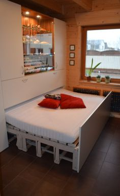 33 space saving beds ideas to maximize your tiny bedroom 1 Bedroom Office, Closet Bedroom, Modern Bedroom, Space Saving Beds, Micro Apartment, Extra Rooms, Tiny Spaces, Murphy Bed, Furniture Inspiration