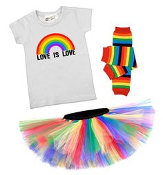 Love Is Love Rainbow T-shirt, Tutu, & Leg Warmers Gift Set - LGBTQ pride festival & equality baby & toddler clothes and gifts at My Baby Rocks
