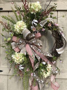 Hydrangea Wreath, Cotton Boll Wreath, Summer Wreath, Mothers Day Wreath, Hydrangea Country Wreath, All Season Wreath, Shabby Chic Wreath