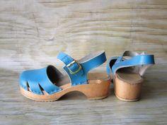 Vintage Blue SVEN Swedish Wooden Clogs by WhatsNewOnTheMantel