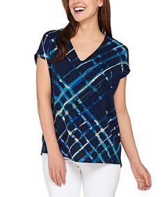 Love this Midnight Watercolor Plaid V-Neck Top - Plus Too on #zulily! #zulilyfinds