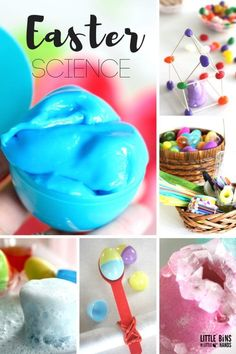 Easter Science activities and Easter STEM activities for kids! Plastic egg science activities and real egg science experiments. Make slime, grow crystals, try eruptions, test egg strength. try the classic egg drop STEM challenge, and more! Awesome Easter