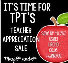 Use ThankYou code for TPT's Teacher Appreciation Sale