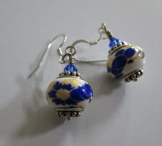 Sapphire/Gold Ceramic Drop Earrings via Town & Country Boutique