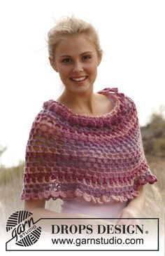"Crochet DROPS shoulder piece in ""Big Delight"". Size S - XXXXL. ~ DROPS Design"