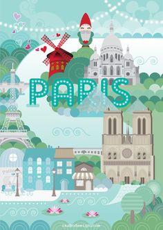 Isabo Illustrazione di Parigi Illustration of Paris