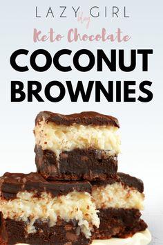 Keto Chocolate Coconut Brownies - Keto Brownies - Ideas of Keto Brownies - Lazy Girl:Chocolate Keto Lava Mug Cake Lazy Girl Keto Brownies, Coconut Brownies, Coconut Desserts, Coconut Cheesecake, Cheesecake Pie, Cheese Brownies, Low Carb Sweets, Low Carb Desserts, Healthy Desserts