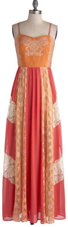Boho lace panel dress