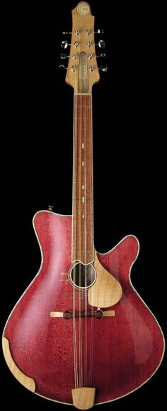 Other Chordophone of the Day. Pink eight string instrument with pickguard and little horn for easier reach to play the strings. INSTRUMENTS FOR JOY.