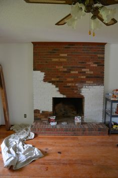 Painting the brick fireplace the same color as the walls will ...