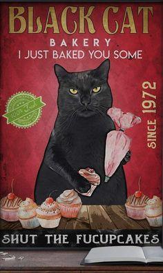 Black Cat Art, Black Cats, Cat Lover Gifts, Cat Gifts, Crazy Cat Lady, Crazy Cats, I Love Cats, Cool Cats, Funny Cats