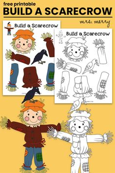 Build a Scarecrow Halloween Kids Activity - Mrs. Merry Fall Arts And Crafts, Fall Crafts For Kids, Toddler Crafts, Fall Crafts For Preschoolers, Holiday Crafts, Holiday Fun, Fall Preschool Activities, Halloween Activities For Kids, Halloween Kids