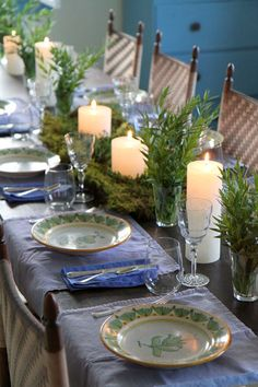 Moss table decoration for summer