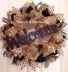 Welcome Wreath Everyday Wreath Burlap Wreath Deco Mesh Wreath by DawslynDecor