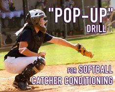 """The """"Pop-Up"""" Drill for Catchers is a great catcher conditioning drill to teach our catchers how to put themselves in proper position to field a pop-up. Softball Workouts, Softball Pitching, Softball Coach, Coaching Volleyball, Girls Softball, Fastpitch Softball, Softball Players, Softball Stuff, Volleyball Drills"""