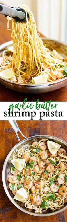 Quick and easy garlic shrimp pasta! #shrimp #pasta