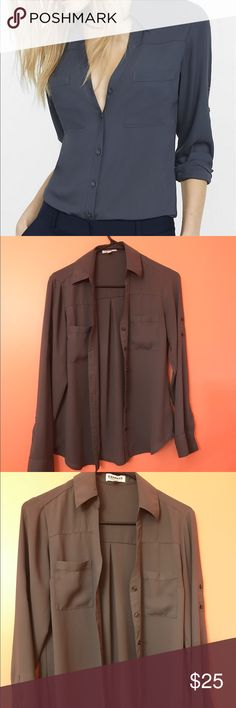 🦋SJC010🦋Express Portofino Shirt slim fit convertible sleeve portofino shirt. Like new conditions. Only worn a handful of times. Comes from a smoke free home. Express Tops Blouses