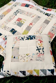 """Perfect scrap quilt gift set.  Could also be made by sewing 3"""" strips together and then cutting 3"""" cross strips.  Would be quick and beautiful!"""