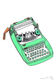 green typewriter screen print. £13.00, via Etsy.