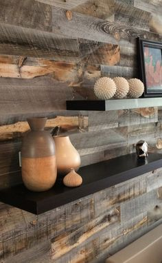 Stikwood- reclaimed weathered wood finish, peel-and-stick real wood decor Stick On Wood Wall, Peel And Stick Wood, Weathered Wood, Barn Wood, Salvaged Wood, Plank Walls, Wood Walls, Ship Lap Walls, Wood Planks