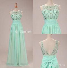Custom Made Green Aline Sequin Long Prom Dresses Prom by MsClothes, $179.99