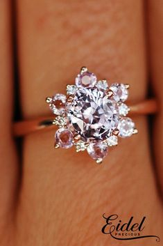 33 Sapphire Engagement Rings By Eidel Precious ❤️ Eidel Precious engagement rings floral halo round cut rose gold ❤️ See more: http://www.weddingforward.com/eidel-precious-engagement-rings/ #weddingforward #wedding #bride