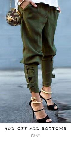 """Love the relaxed styling of these trendy and cozy buckled-hem army green harem pants. (Shop link in bio)"" Look Fashion, Winter Fashion, Fashion Design, Fashion Women, Fashion Details, Space Fashion, Fashion 2020, Fashion Fashion, Korean Fashion"