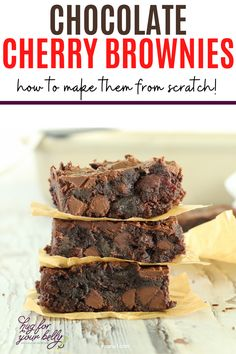 The sweetness of cherries brings a new level of flavor in these chocolate cherry brownies. Cherry and chocolate are a match made in heaven! #easychocolatecherrybrownies #chocolatecherrybrownies #chewybrownies #homemadebrownies Easy Cake Recipes, Brownie Recipes, Easy Desserts, Sweet Recipes, Delicious Desserts, Dessert Recipes, Bar Recipes, Chocolate Cherry, Chocolate Desserts